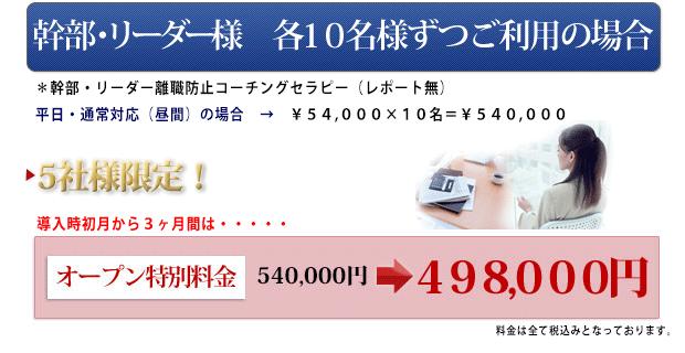 幹部リーダー様 各10名様ずつご利用の場合 ¥54,000×10名=¥540,000